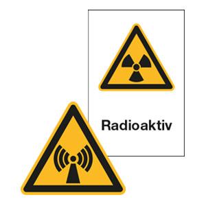 Warnschilder für Strahlungen