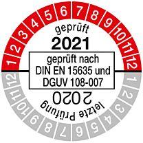 Prüfplakette geprüft nach DIN EN 15635, einjährig 20/21
