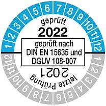 Prüfplakette geprüft nach DIN EN 15635, einjährig 21/22