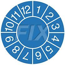 Prüfplaketten zum Selbsteintrag der Jahreszahl, blau