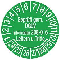 Prüfplakette - Geprüft nach DGUV-Information 208-016 Leitern u.Tritte
