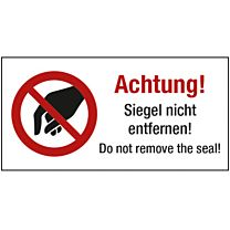 Sicherheitssiegel - Achtung, Siegel nicht entfernen!