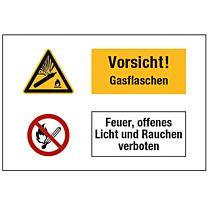 Vorsicht ! Gasflaschen. Feuer, offenes Licht und Rauchen verboten.