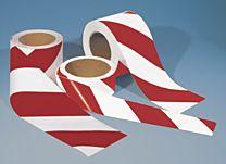 Warnmarkierungsband mit rückseitigem Abdeckpapier, rot/weiß