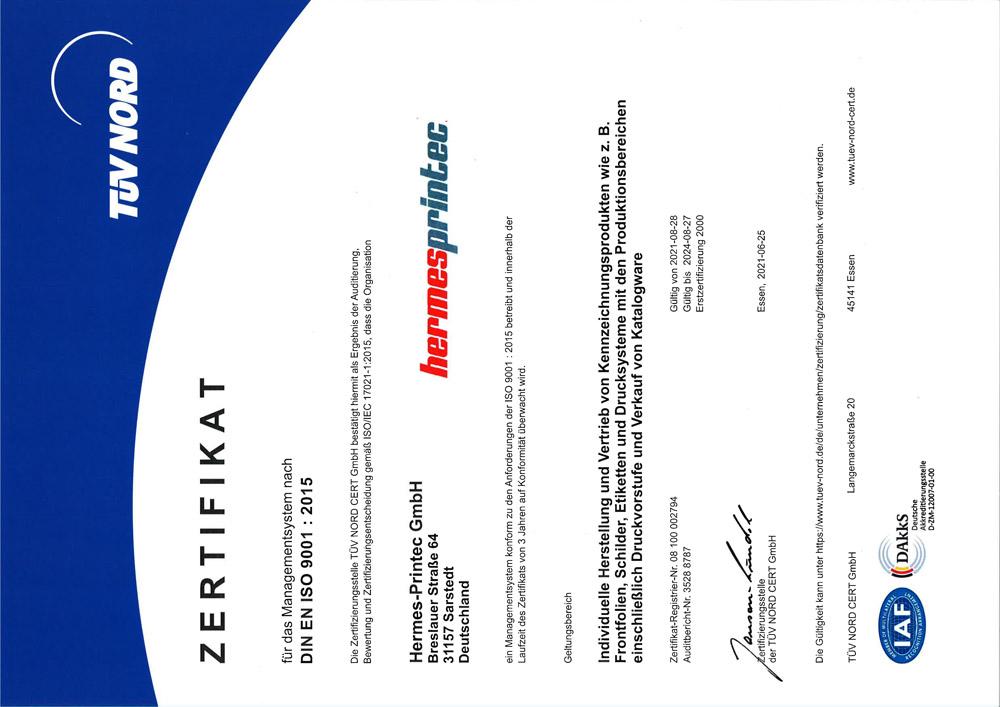 Zertifikat DIN EN ISO 9001:2015 - deutsch
